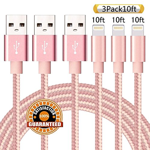 Suanna iPhone Cable 3Pack 10FT Nylon Braided Certified Lightning to USB iPhone Charger Cord for iPhone 7 Plus 6S 6 SE 5S 5C 5, iPad 2 3 4 Mini Air Pro, iPod Nano 7 - Pink