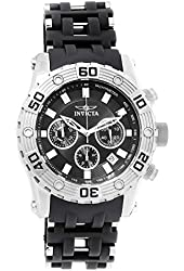 Invicta Men's Sea Spider Black Polyurethane Band Steel Case Swiss Quartz Analog Watch 22086