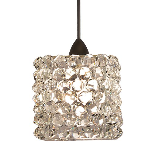 WAC Lighting MP-539-WD/DB Mini Haven Crystal Pendant Fixture with Dark Bronze Canopy, One Size, Clear Diamond
