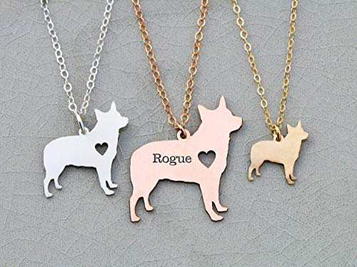 - Blue Heeler Dog Necklace - Australian Cattle - IBD - Personalize with Name or Date - Choose Chain Length - Pendant Size Options - 935 Sterling Silver 14K Rose Gold Filled - Ships in 1 Business Day