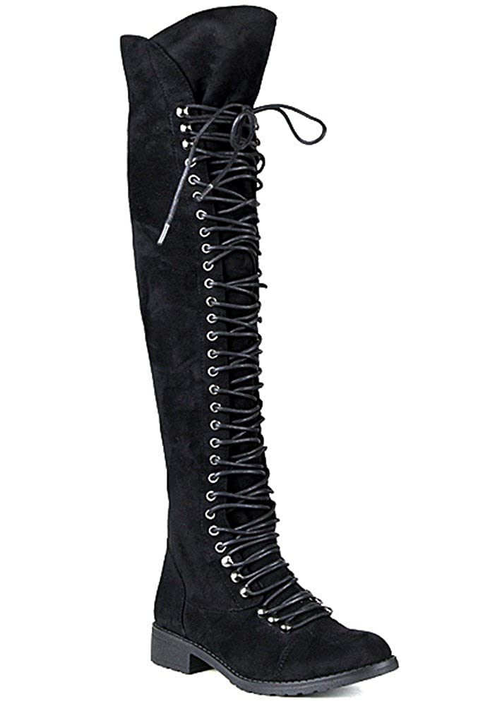 SHOEDEZIGNS Travis 05 Women Military Lace Up Thigh High Combat Boot