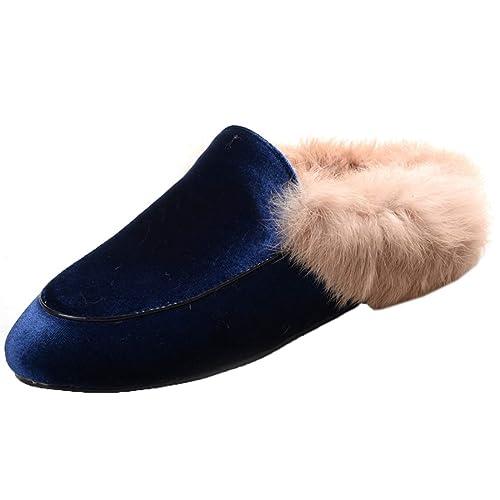 sale retailer 5f5aa 6fb6b Agodor Damen Flache Slingbacks Pantoletten mit Fell Leder Slipper Samt  Mules Warm Loafers Schuhe