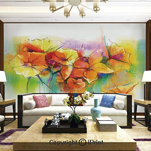 Lionpapa_mural Wall Mural Showing All They Beauty Extremely Detailed Image, Vibrant Autumn Bouquet withTypes of Blooms Daffodil Fragrant Image,Home Decor - 100x144 inches