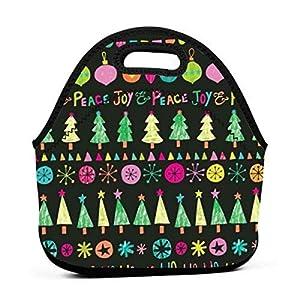 Borsa tote portatile in neoprene Ho Ho Ho Christmas Peace Joy Lunch con cerniera per ufficio scuola e scatola da pranzo… 12 spesavip