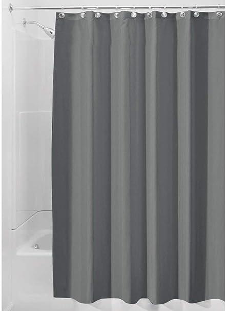 YUNSW Tenda per Doccia Moderna in Tessuto di Poliestere Grigio Solido con Ganci Tende Resistenti AllUmidit/à Impermeabili per Il Bagno