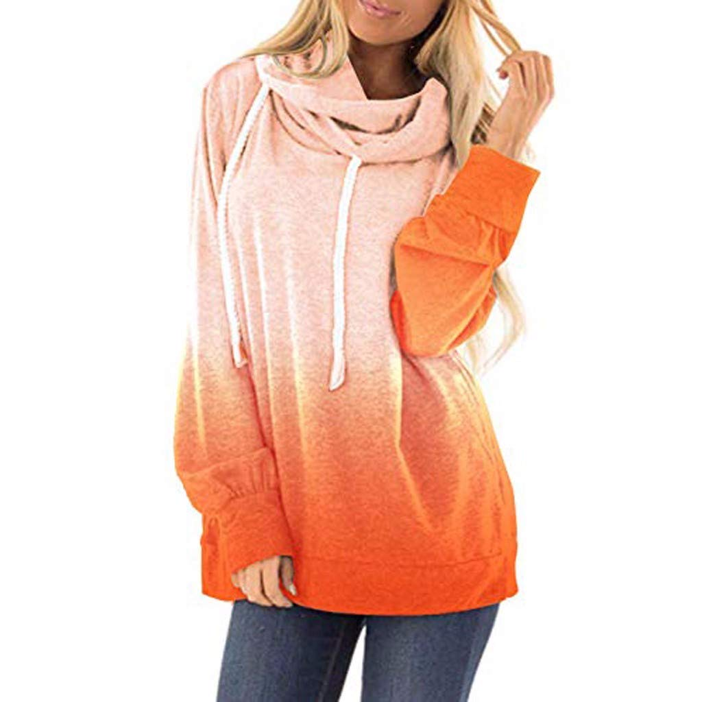 POPNINGKS Women's Casual T-Shirt Long Sleeve Button Cowl Neck Tunic Sweatshirt Tops Blouse Orange by POPNINGKS