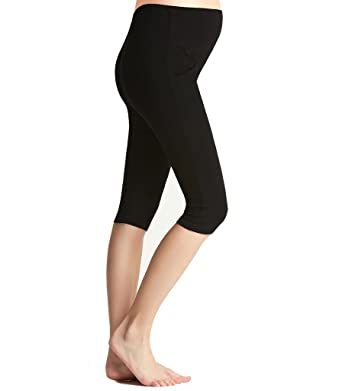 8bcc0dd2af5af Liang Rou Maternity Belly Support Mini-Ribbed Stretch Capri Leggings: Amazon .co.uk: Clothing