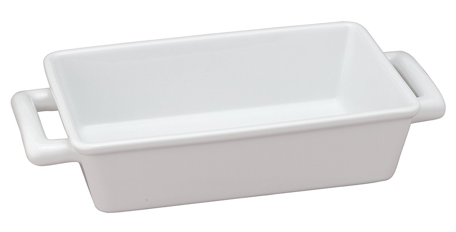 HIC Oblong Rectangular Baking Dish Roasting Individual Lasagna Pan, Fine White Porcelain, 8.5-Inches x 5.5-Inches x 2.5-Inches