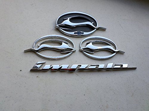 (00-04 Chevy Impala Chrome Side Fender Rear Trunk Leaping Deer Emblem Logo Badge Set)