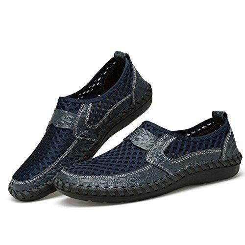 Tezoo Mesh Casual Schuhe, Sommer Männer und Frauen Mesh atmungsaktive Wanderschuhe Loafers, Outdoor Licht wiegen Slip On, Nähte Honeycomb Wandern Schuhe Durable Soft Dunkelblau