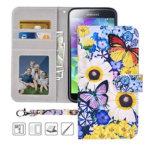 S5 Wallet Case, Galaxy S5 Case, MagicSky Premium PU Leather Flip Folio Case Cover with Wrist Strap,Card Holder, Cash Pocket, Kickstand for Samsung Galaxy S5(Butterfly Over - For Dollar Galaxy S5 Cases
