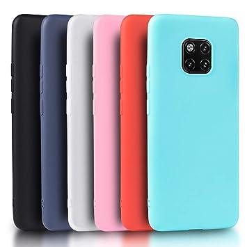 Wanxideng - 6X Funda Huawei Mate 20 Pro, Carcasa Suave Mate en Silicona TPU - 6 Fundas de Colores [ Negro+ Rojo + Azul Oscuro + Rosa + Verde Menta + ...