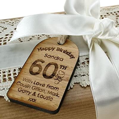 60th Birthday Novelty Gifts Engraved Personalised Tag Special Keepsake Oak Gift For Her