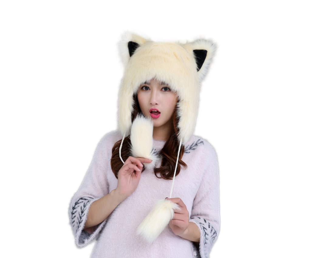 Old DIrd Women Winter Cosplay Hat Fluffy Faux Fur Animal Hats Spirit Ears Wolf Bear Cat Costume Hat Beige