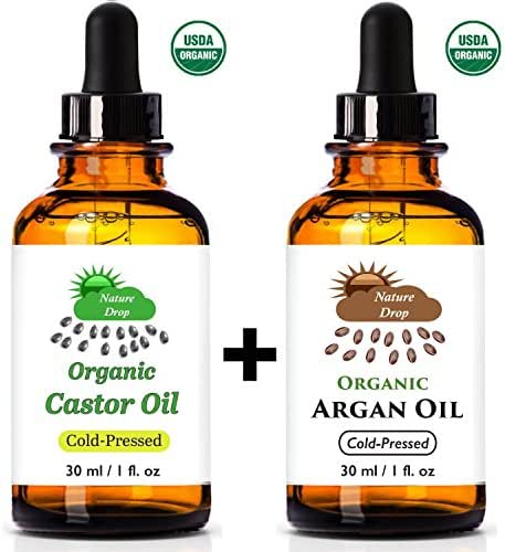 Nature Drop's USDA Castor Oil,Organic & Argan Oil Set - 100% USDA Certified Pure Cold Pressed Hexane free - 100% Pure Moroccan Anti Aging, Anti Wrinkle Beauty Secret.