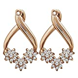 3/8 ct. Charles Colvard Created Moissanite Moissanite Flower Earring Jackets in Rose Gold Plated Sterling Silver (0.4 ct. twt.)