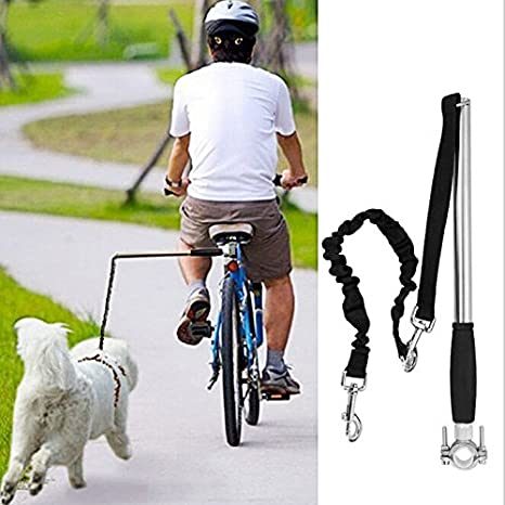 Correa de Perro para Bicicleta Correa de Manos Flexi Libres de Ejercicio,Bicicleta de Acero Inoxidable – Paseo y paseo con manos libres para entrenamiento de mascotas,cómodo mango de silicona