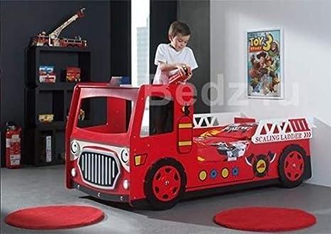 Para cama individual infantil diseño de camión de bomberos de cartón con forma de LEDs luces y Monarch Rome Damask colchón: Amazon.es: Hogar