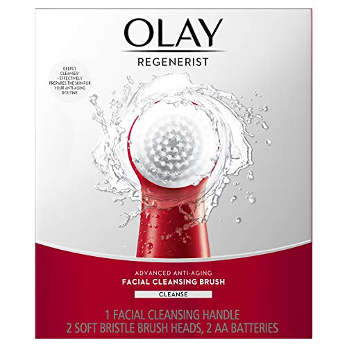 Facial Cleansing Brush via Olay Regenerist, Face Exfoliator with 2 Brush Heads, Great Stocking Stuffer