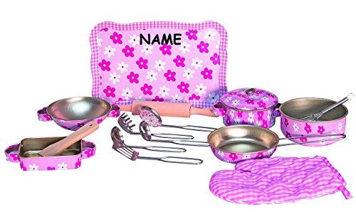 16 tlg. Topfset incl. Name - Kochset aus Metall + Küchenhelfer + Nudelholz + Topflappen + Tablett - Geschirr - Küche Zubehör - Töpfe Kochtopf für Kinder - Kindergeschirr - Puppengeschirr - Kindertöpfe Kochtöpfe - rosa für Mädchen - Kochtopfset - Spiel Set Kochgeschirr