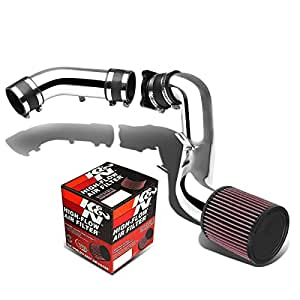 Nissan 350Z Z33 SIlver-Coated Aluminum Cold Air Intake Pipe+K&N RU-2430 Filter