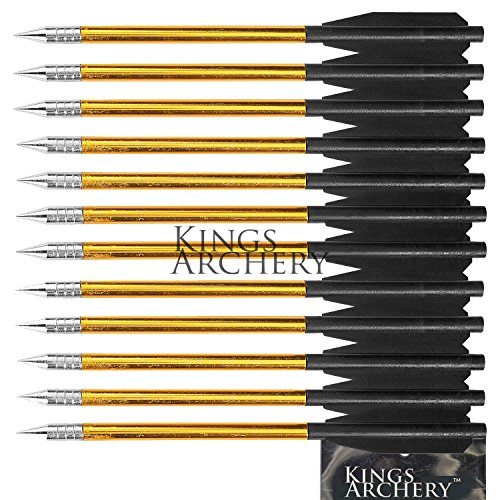 KingsArchery Crossbow Arrows Aluminum (12 Pack) 6 inch bolts in Black and Gold for Hunting Crossbow Pistol Precision Target Arrow + KingsArchery Warranty (Bolts Pistol)