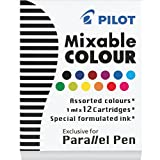 Pilot Parallel Pen Ink Refills for Calligraphy Pens, Assorted Colors, 12 Cartridges Per Pack -77312