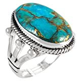 Turquoise Ring in Sterling Silver 925 & Genuine Turquoise Size 6 to 11 (6)