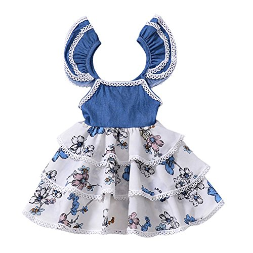 YOHA Baby Girls Denim Soft Jumper Dress Suspender Skirts Pinafore Tutu Dress Denim,80