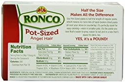 Ronco Pot Sized Pasta, Angel Hair, 16 Ounce (Pack of 16)