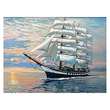 Framless Canvas painting - SODIAL(R) Frameless pictures painting by numbers hand painted canvas cartoon drawing diy oil painting by numbers 4050cm for Home Decor