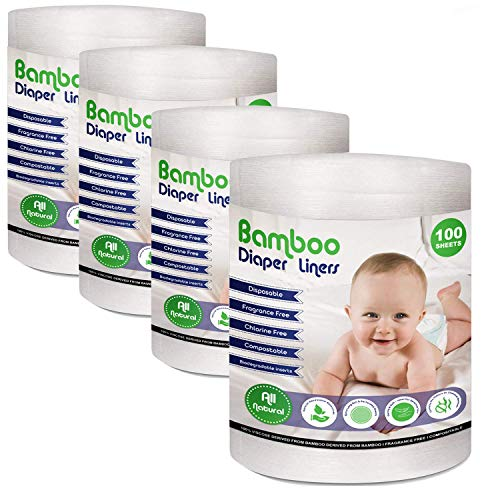 Disposable Cloth Diaper Bamboo Liners - 4 Rolls, Fragrance Free & Chlorine Free, Compostable, Dye Free Flushable Biodegradable Viscose Bamboo Liners for Cloth Diaper 100 Sheets for 4 Rolls