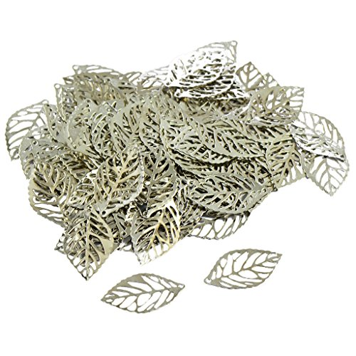 Baosity 100 Pieces Silver Hollow Filigree Charms Leaf Pendant Bracelet Jewellery Finding DIY Crafts Making Beads