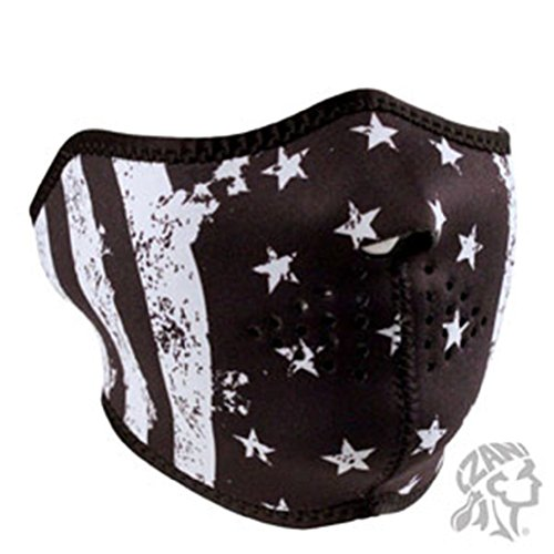 Paintball Usa Mask - Vintage Black White Patriotic USA Flag Neoprene Face Mask Biker Ski Paintball
