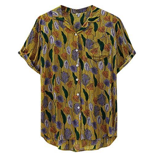 kaifongfu Fashion for Mens Button Down Shirts Ethnic Short Sleeve Casual Cotton Linen Printing Hawaiian Shirt Blouse(Yellow,M)
