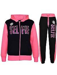 Kids Girls Tracksuit #SELFIE Print Hoodie & Bottom Jog Suit New Age 7-13 Years