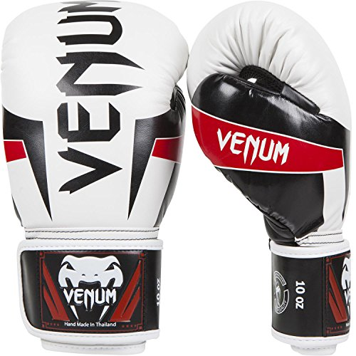 - Venum Elite Boxing Gloves, White/Black/Red, 16-Ounce