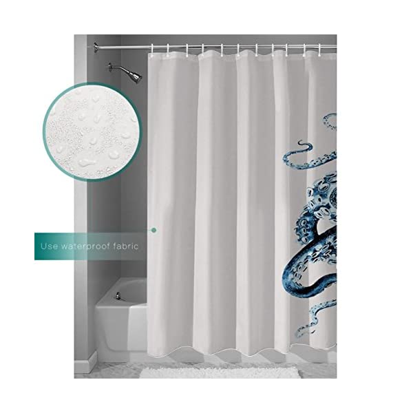 CHARMHOME Steampunk Octopus Ocean Shower Curtain,Polyester Waterproof Fabric Blue Kraken Bathroom Decor 5