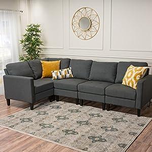 GDF Studio Carolina Fabric Sectional Sofa/Storage Ottoman