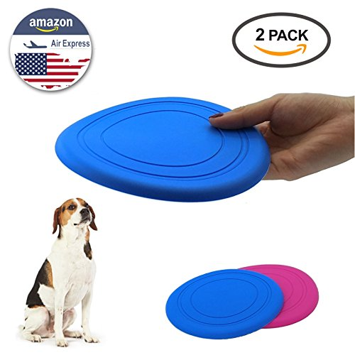 ourfun Dog Flying Disc Toys for Kids Boys Girls Doggie Frisbee Best Outdoor Sport Disk Games for Family Fun Beach Lawn Backyard Garden Park Soft Rubber Safe Nontoxic, 7 inch 2 pack