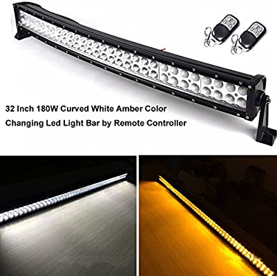 Night Break Light Curved 32 Inch 180w Amber And White Led Work Light Bar Combo Beam By Remote Controller For Offroad 4x4 Truck Jeep 4wd Rzr Atv Suv
