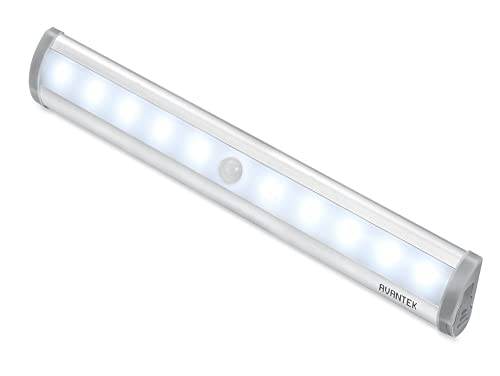 AVANTEK Motion Sensor Wardrobe Light, 10 LEDs Night Light Battery Powered Wireless Light Bar with Stick-on Magnetic Strip for Closet Cabinet Cupboard Stair Washroom