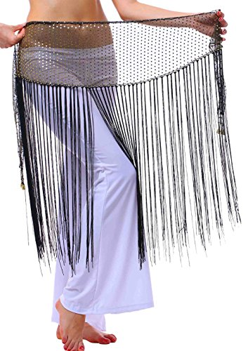 Long Hip Scarf for Show or Dress up with Siny Bling Ending and Fringes (black gold,XS/S/M/L)