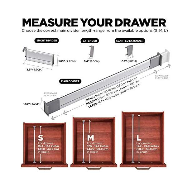 51YvYmeJQPL PRACTICAL COMFORT Schubladen-Organizer, Verstellbarer Schubladeneinsatz aus Aluminium für Clutter-Freie Küche…