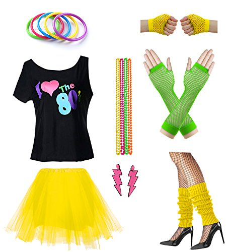 Women I Love The 80's Disco 80s Costume Outfit Accessories Set (XL/XXL, -