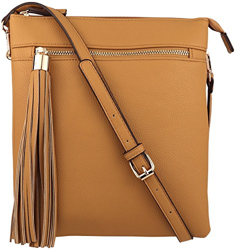 B BRENTANO Vegan Double-Zip Pocket Crossbody Handbag Purse wih Big Tassel Accent (Mustard)