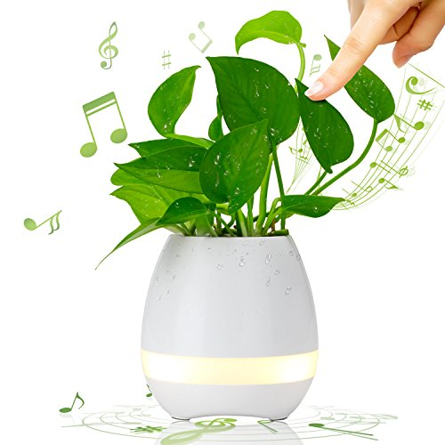 Educational Pot (iSuri Music Flower Pot Planter, Touch Play Indoor, Wireless Bluetooth Speaker Rechargeable/Round Decorative Vase, White)