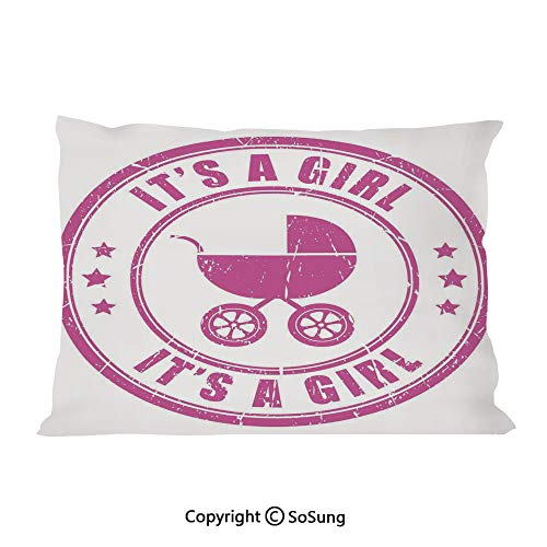 Gender Reveal Decorations Bed Pillow Case/Shams Set of 2,Grunge Its A Girl Stamp Baby Carriage Artistic Newborn Icon Image Queen Size Without Insert (2 Pack Pillowcase 30