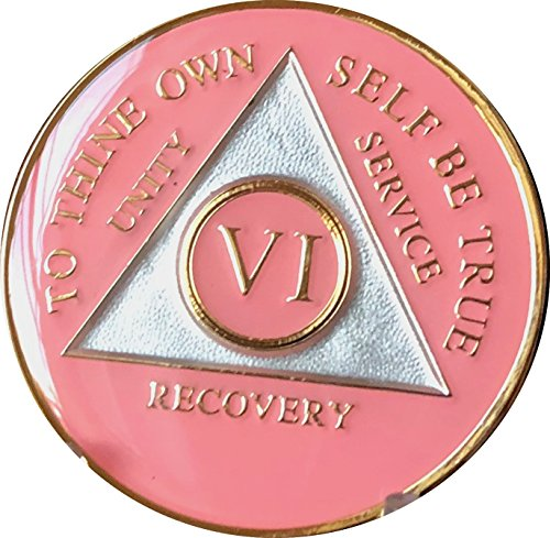 - 6 Year AA Medallion Glossy Pink Tri-Plate Gold Plated Chip VI
