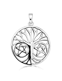 WithLoveSilver Sterling Silver 925 Celtic Tree of Life and 2 Pentagram Stars Pendant